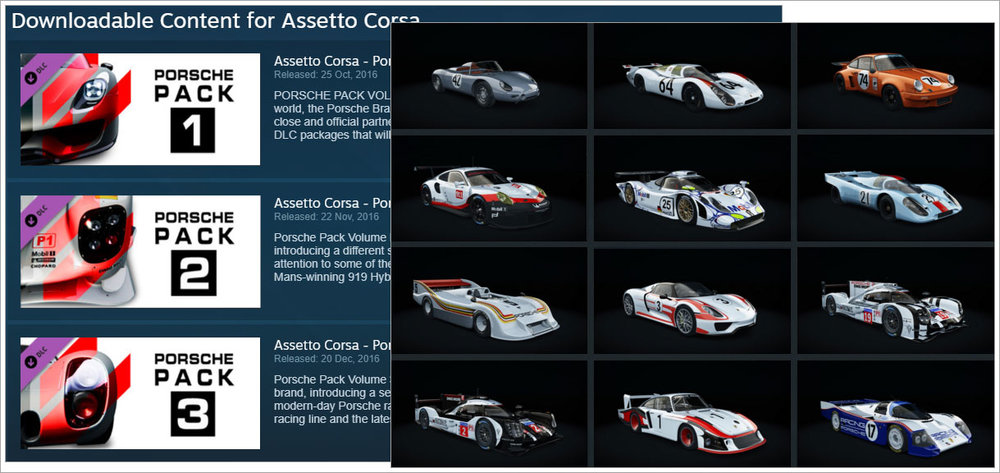 ... In The Steam Store And On The Right Some Of The More Interesting  Porsche Marques. And I Should Add That RaceRoom Now Includes Porsche Cars  As Well.