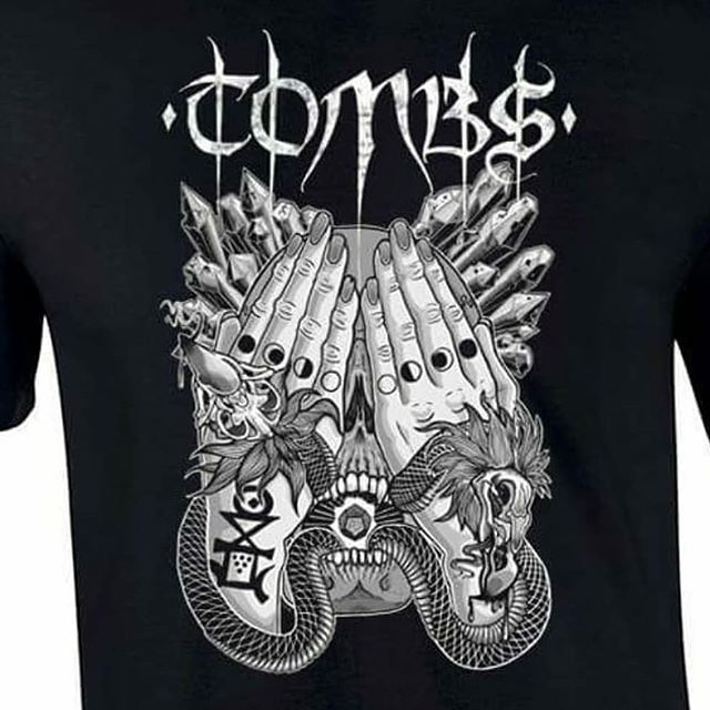 Official @tombscult shirt designed by me, available through @bifocalmedia . Link to buy in my bio. #brutalsquid #brutalsquidart #kristindebockler #kristinsmith #art #artist #illustration #tombs #nybm