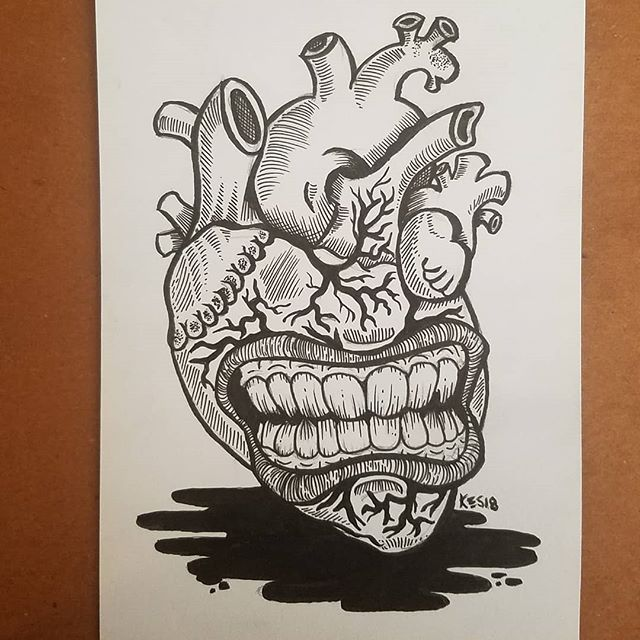 Hnnnnnnnggggglllooooove. Part of the anti-valentines series. Come see it tomorrow at NeshaminyxTprfm. Available. #brutalsquid #brutalsquidart #kristindebockler #art #artist #illustration #kristinsmith #Valentines #tprfm @trentonprfm @ncbcbeer