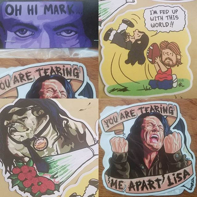 "The Room limited run sticker packs, get them before they're gone! Link to my store in my bio. $10 for 3 5"" stickers, UV/weather resistant. #brutalsquid #brutalsquidart #kristindebockler #art #artist #illustration #theroom #ohhimark #youretearingmeapartlisa #youaretearingmeapartlisa #hidoggy #imfedupwiththisworld #tommywiseau #fanart #lowbrow #cultfilm"