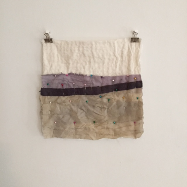 A stitchwork in progress, using small pieces of natural dyed fabrics