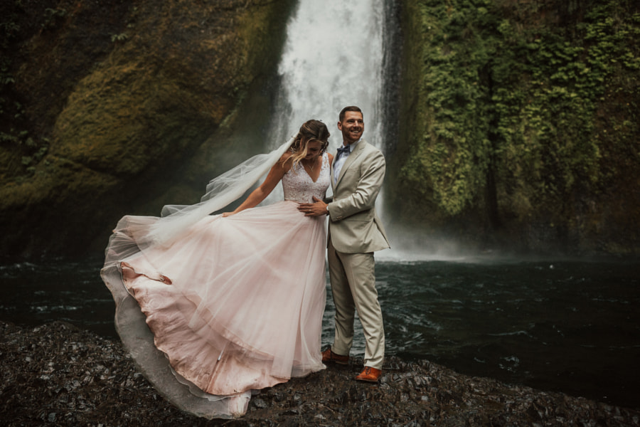 From this morning's wedding underneath a raging waterfall..