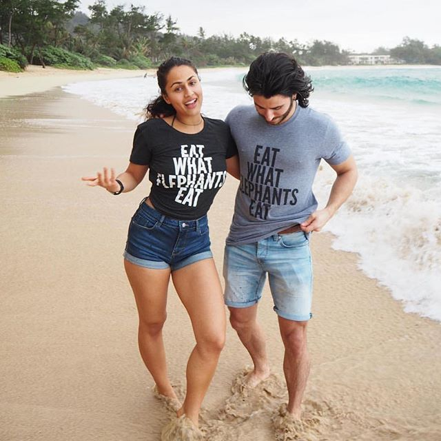 "We love it!  #Couplegoals. @mangosteen_queen: We were wearing our ""eat what elephants eat"" shirts because couples who match vegan propoganda shirts together fight injustice together. ✌❤💪😘 🐰🐓🐥🐄🐏🐐🐖🐘🐒🐯🐕🐈 #craziesandweirdos"