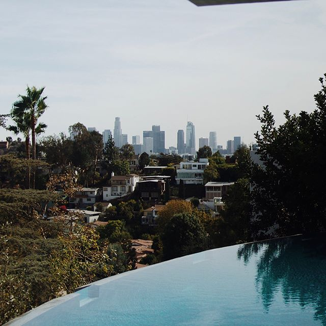 $7.5M view from John Lautner's Silvertop Home in Silverlake, CA - Very lucky to have helped produce the stainless steel kitchen island for this dreamy space.