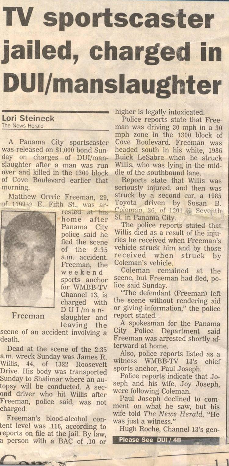 Matt Freeman_Florida newspaper article and accident_December 1992.jpg