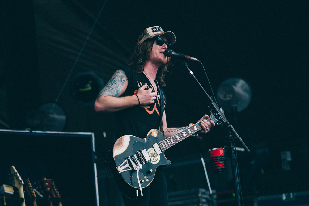 """Jaren Johnston of The Cadillac Three, plays """"I'm southern"""" on the Sunrise Stage."""