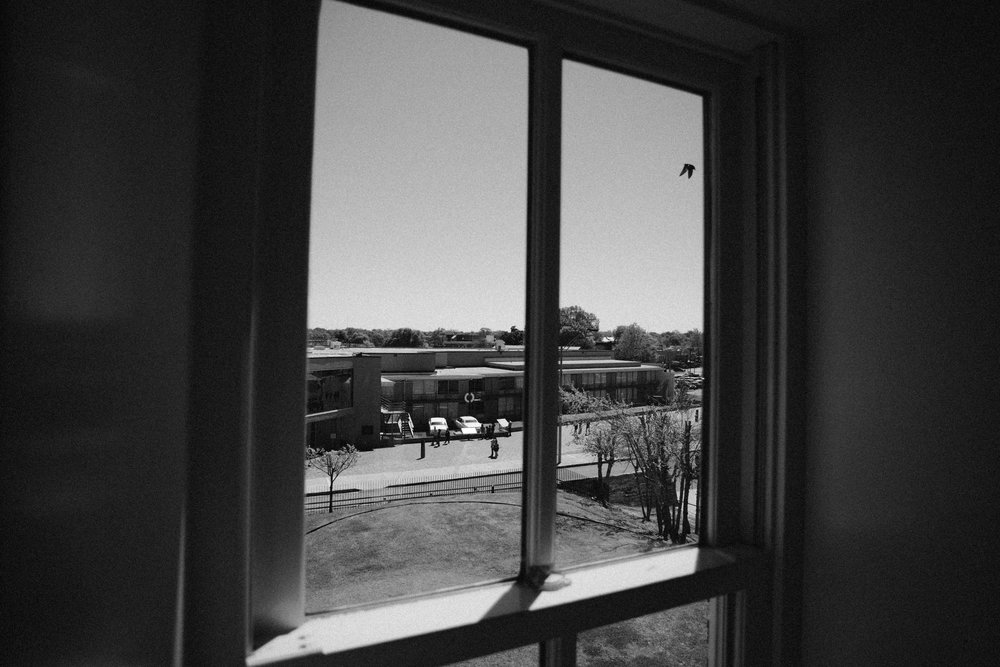 Looking through one of the boarding house windows, showing the vantage point of shooter Earl Ray Jones.