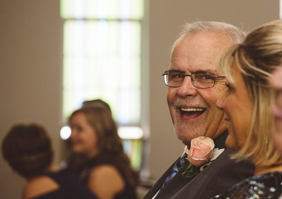 Joe Nelson laughs at his daughter's wedding. Howell, Michigan.