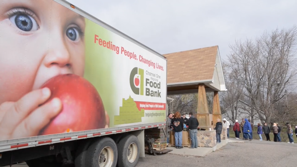 Channel One Food Bank Rochester MN video film production content creation Red Couch Stories