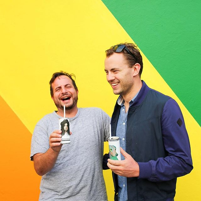 The wine more aussie boys in LA love #Nomadica #cannedwine #rainbowwall