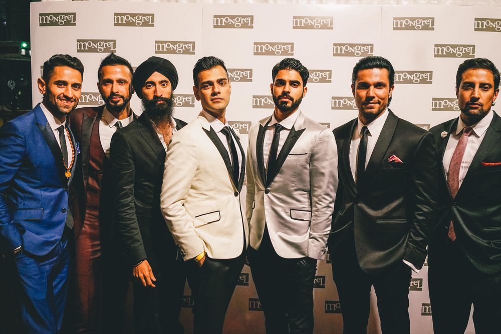 The Beeba Boys from left to right: Ali Momen, Ali Kazmi, Waris Ahluwalia, Gabe Grey, Jag Bal, Randeep Hooda and Steve Dhillon.