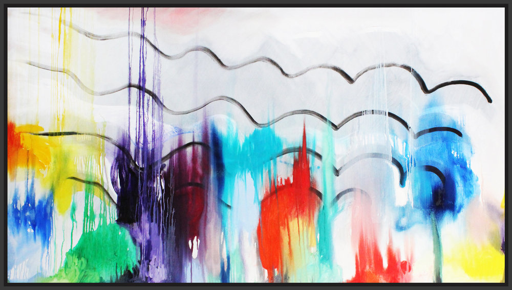 """Futuristic City in Autumn, 2017, oil on canvas, 48"""" x 84"""" (121.9 x 213.4cm)"""