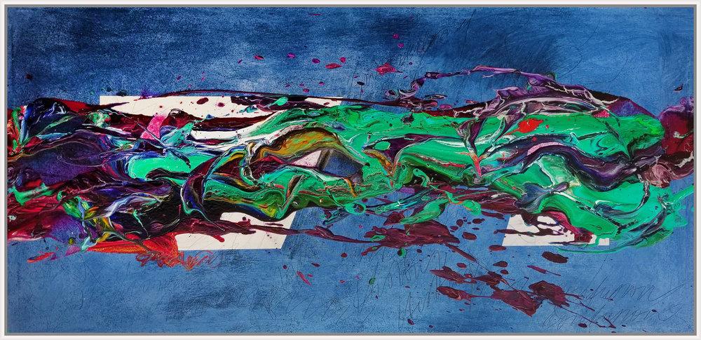 "Under the Lights #2, 2018, acrylic on canvas, 29"" x 59"" (73.7 x 149.9 cm)"