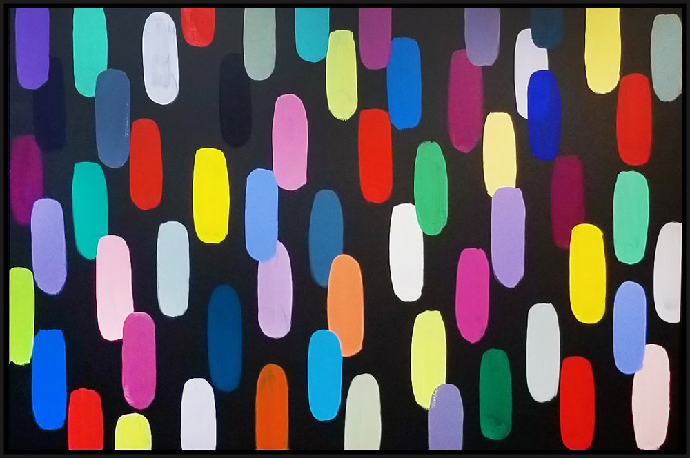 "Jelly Bean #57, 2018, acrylic on canvas, 48"" x 72"" (122 x 183 cm)"