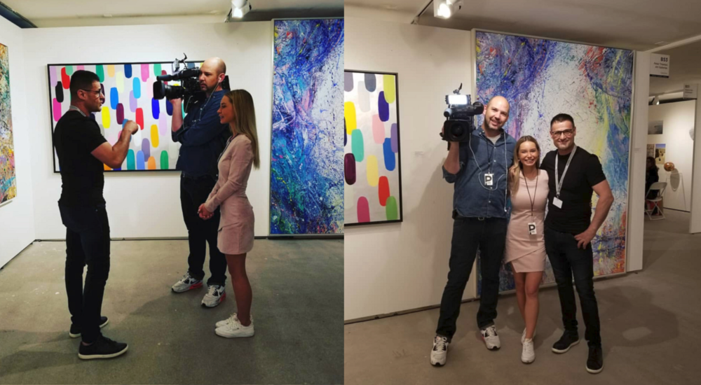 - Peter took time out of his busy art fair schedule at SCOPE Basel to chat with Adela from Telebasel about the main messages in his work, his love affair with colors and the beauty of Basel. Watch the full interview {here} or watch a behind-the-scenes below.