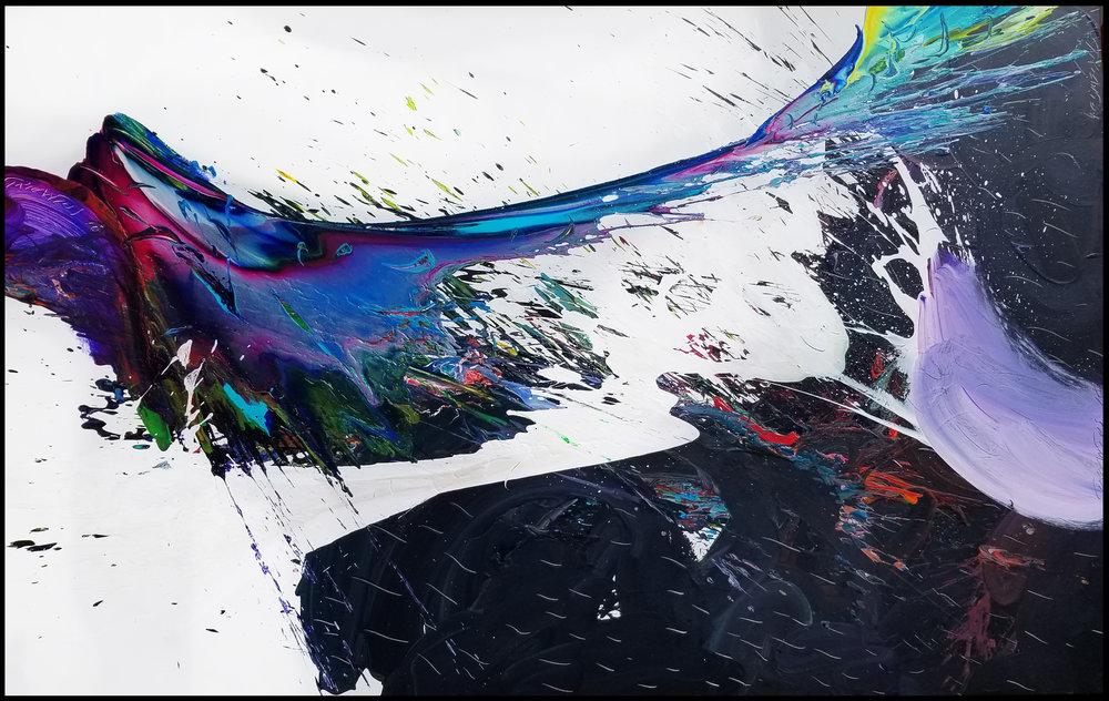 """Storm #3, 2018, acrylic on canvas, 60"""" x 96"""" (152.4 x 244 cm) in Palm Beach, Florida, USA"""