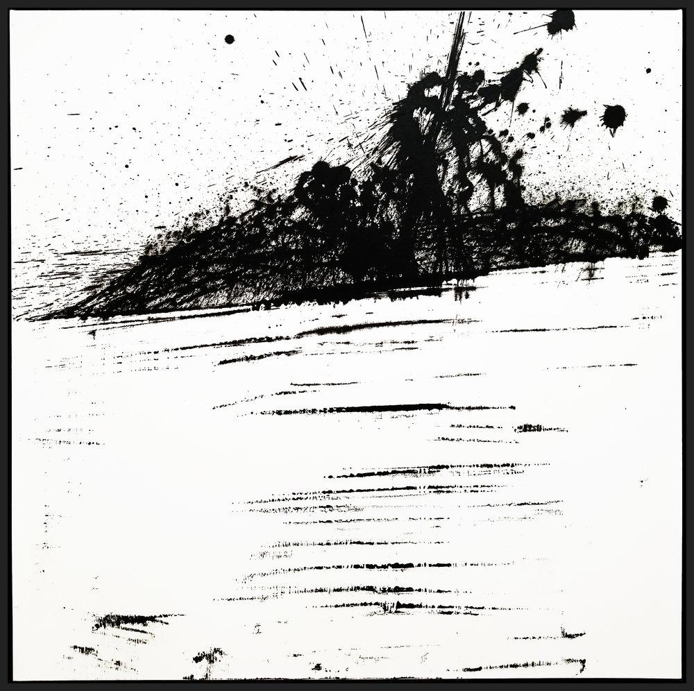 "Black & White #11, 2018, acrylic on canvas, 48"" x 48"" (121.9 x 121.94 cm)"