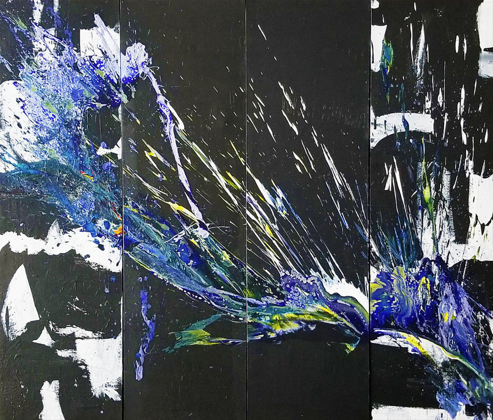 "SP² #76, 2017, acrylic on panels, 70 "" x 80"" (178 x 203 cm)"