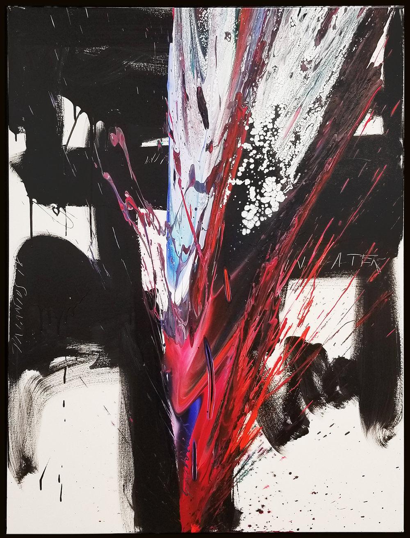 "Splash of Colour 2 #133, 2019, acrylic on canvas, 48"" x 36"" (122 x 91.4 cm)"