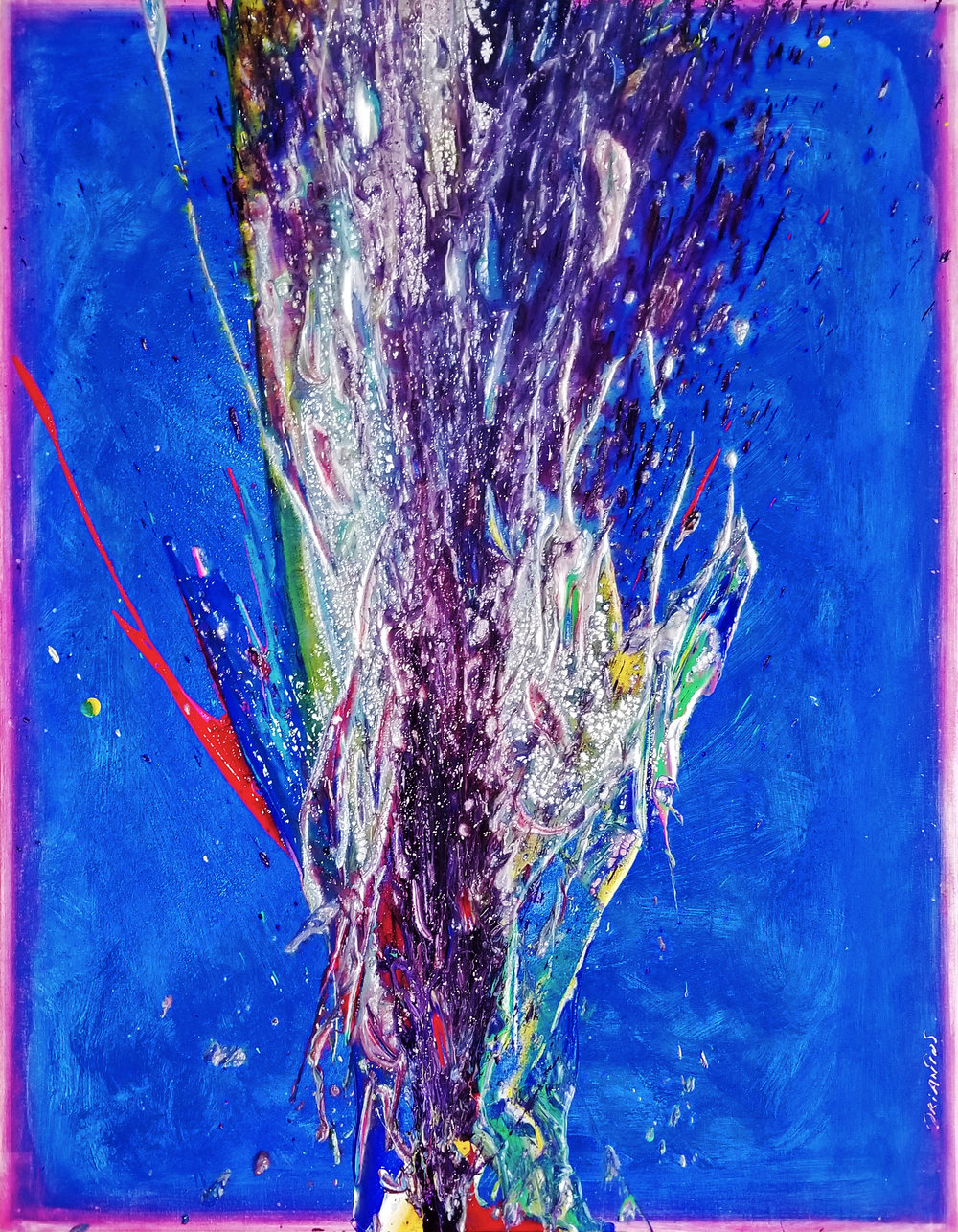"Splash of Color 2 #141, 2019, acrylic on canvas, 40"" x 32"" (101.6 x 81 cm)"