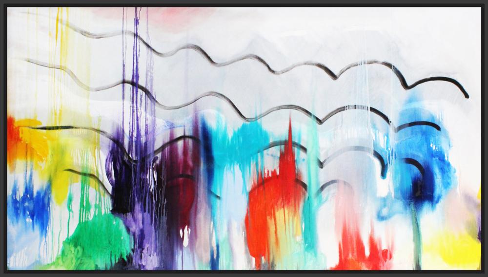 """Futuristic City in Autumn, 2017, oil on canvas, 48"""" x 84"""" (122 x 213.4cm)"""