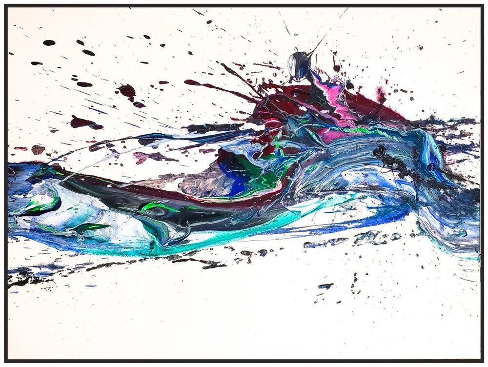 "Splash of Colour 2 #137, 2019, acrylic on canvas, 36"" x 60"" (91.4 x 152.4 cm)"