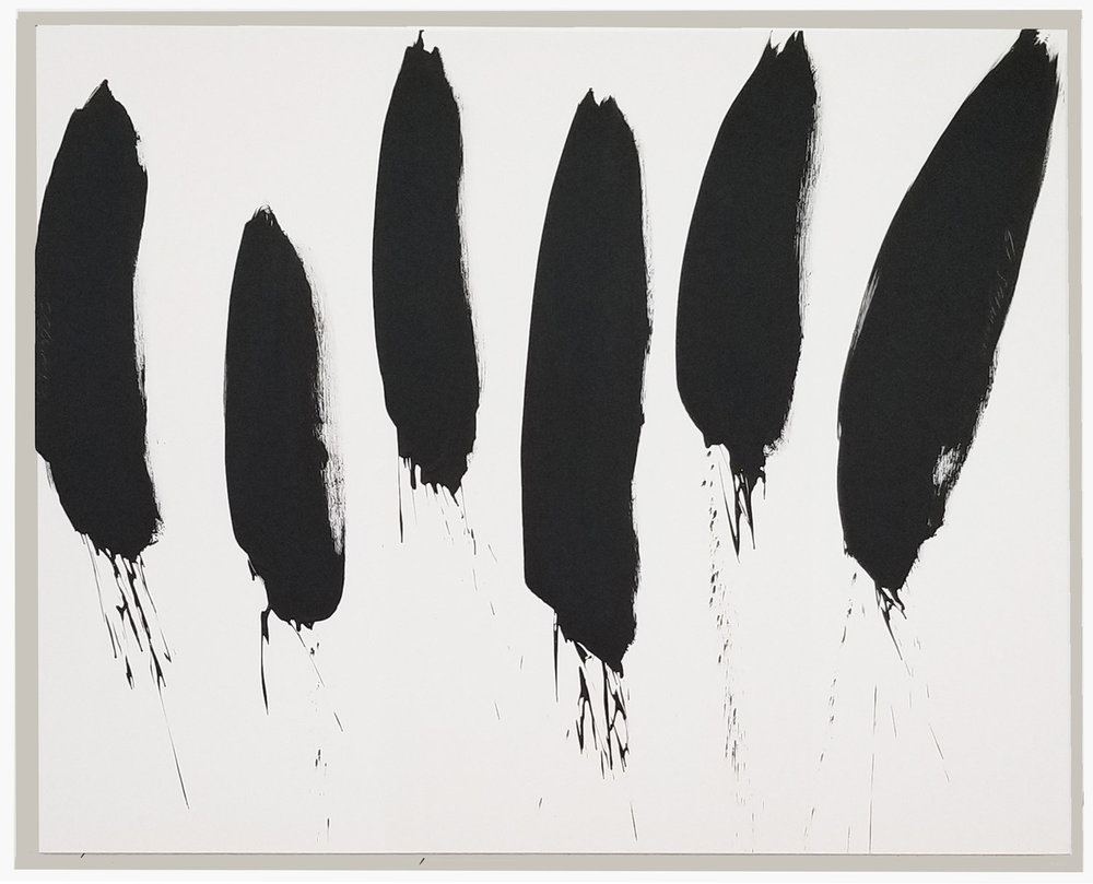 """Black and White Abstract #68, 2019, acrylic on canvas, 48"""" x 60"""" (121.9 x 152.4 cm)"""