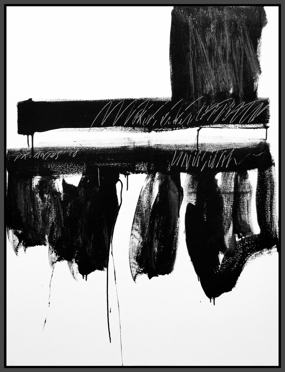 """Black and White #63, 2018, acrylic on canvas, 48"""" x 36"""" (122 x 91.4 cm)"""