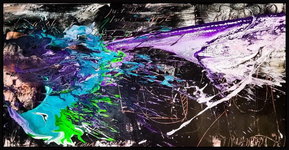 "Splash of Color 2 #144, 2019, acrylic on canvas, 36"" x 72"" (91.4 x 183 cm)"
