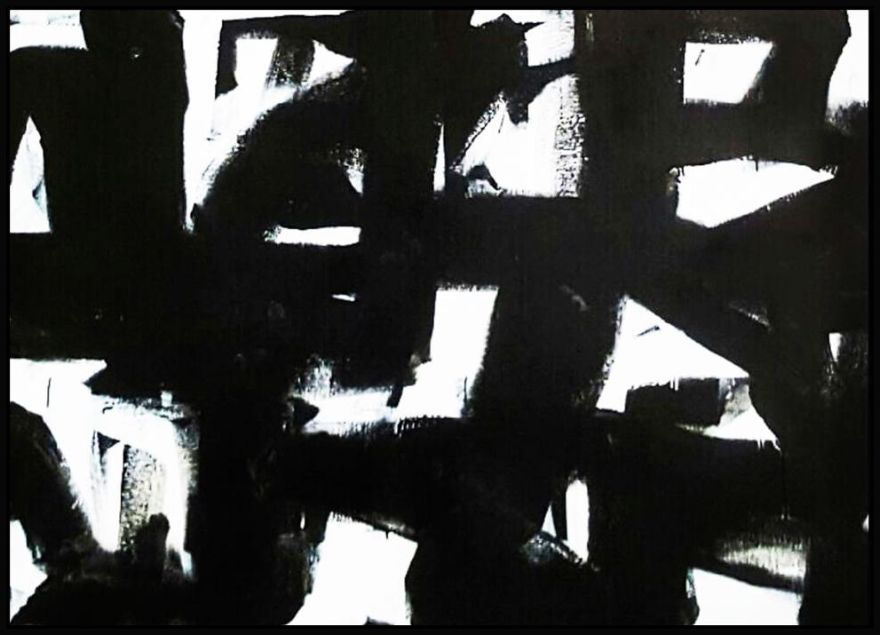 "Black & White #38, 2016, enamel on canvas, 44"" x 62"" (112 x 157.5 cm)"