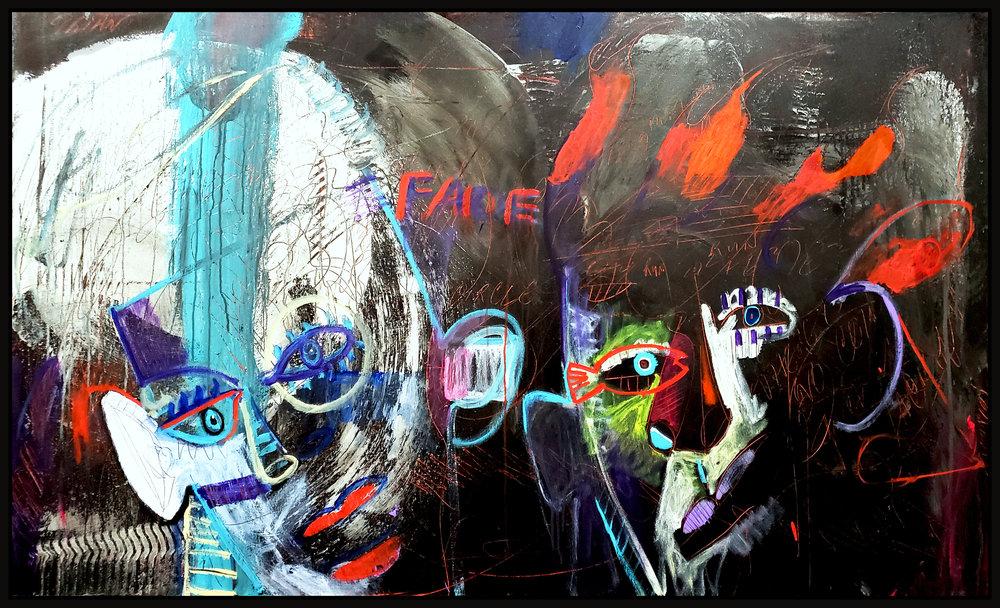 "Untitled #118, 2019, acrylic on canvas, 36"" x 60"" (91.4 x 152 cm)"
