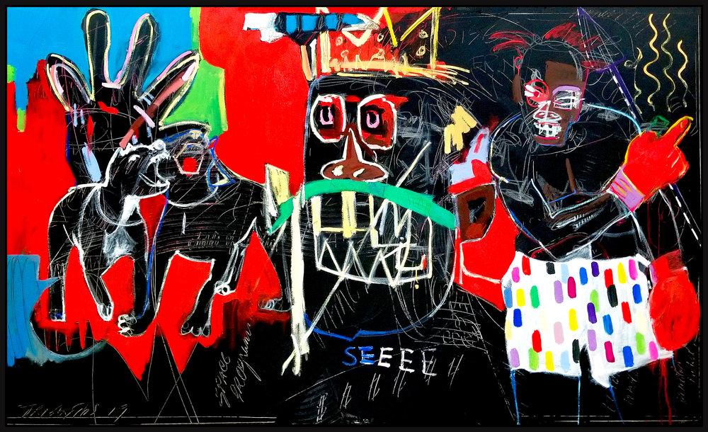 "Homage Basquiat (Untitled #128) , 2019, acrylic on canvas, 36"" x 60"" (91.4 x 152 cm) in Seoul, Korea"