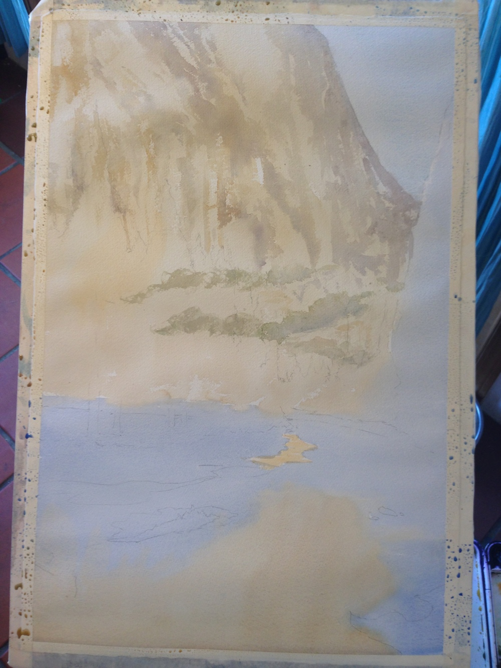 step 2- a bit of dull, warm shadows on the mountain.