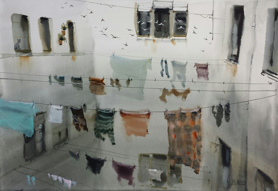 the walls of this courtyard gently descend into darkness.  the cast shadows barely exist, and the paper-white not at all.  there's little difference between the hanging laundry and the dark windows.  instead, the painting rests on the arrangement of forms, and the story it tells about cats, birds, and absent humans