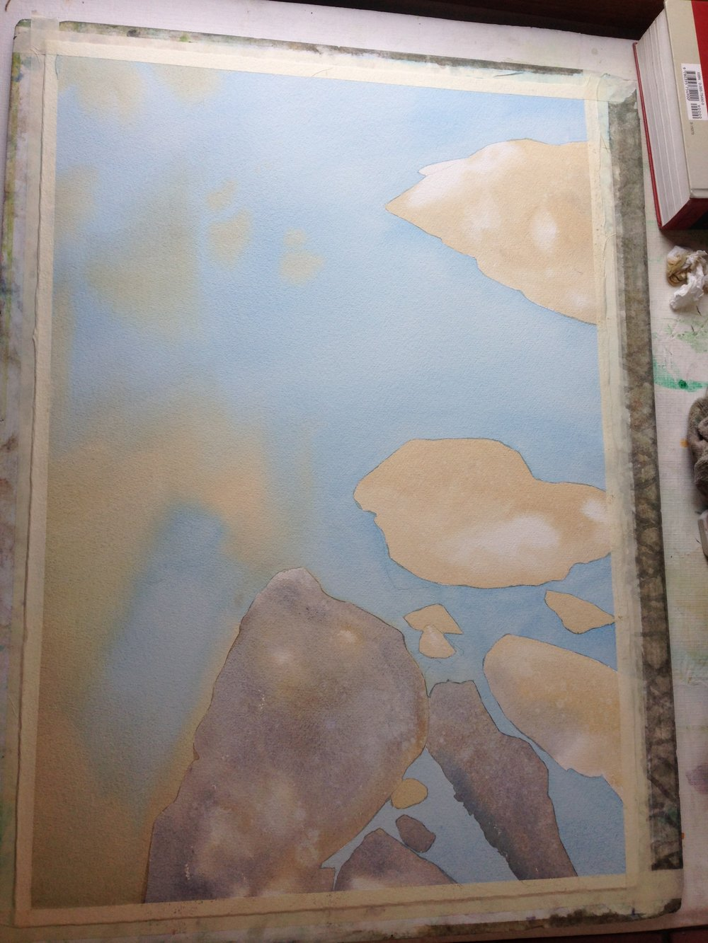 step 2- the stones, with the same muted yellow Ochre mix.