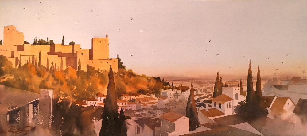 """The Bells Are Ringing"".  The Alhambra at sunset in Granada, Spain.  40"" x 18"""
