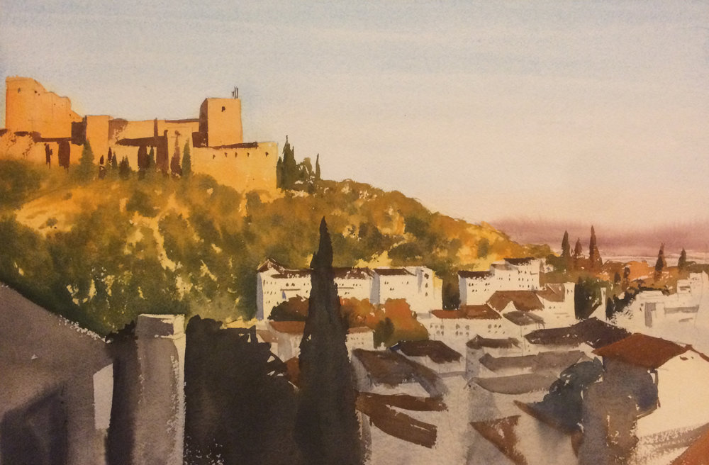 I used cerulean blue for the sky, and did a wash of yellow under everything.  the shadows on the alhambra have more red in them, in an attempt to warm up the whole space.