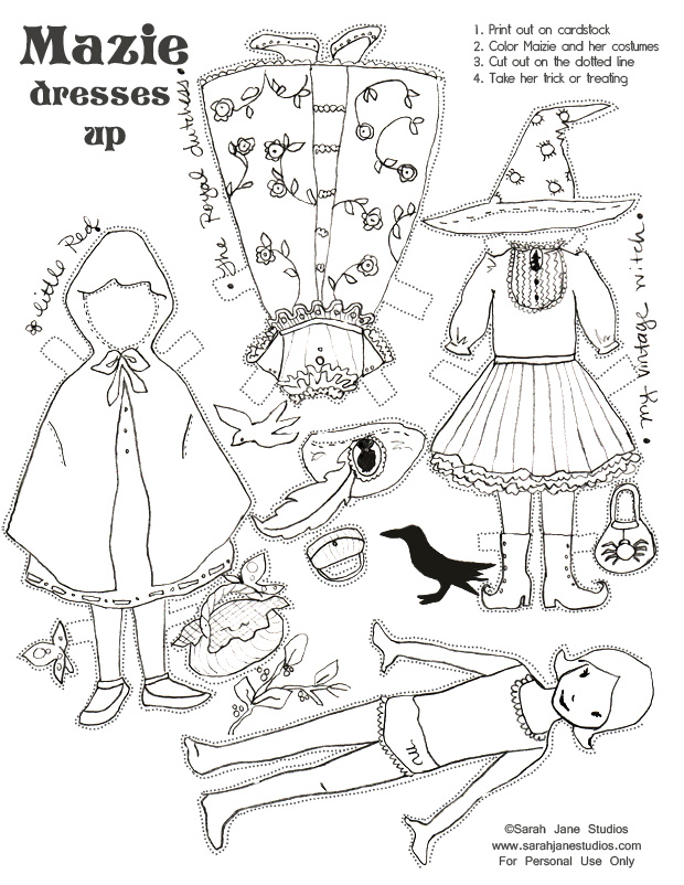 Halloween Witch Cut Out Paper Coloring Coloring Pages