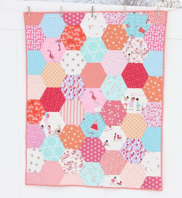 Hexagon baby quilt Sarah Jane Fabric