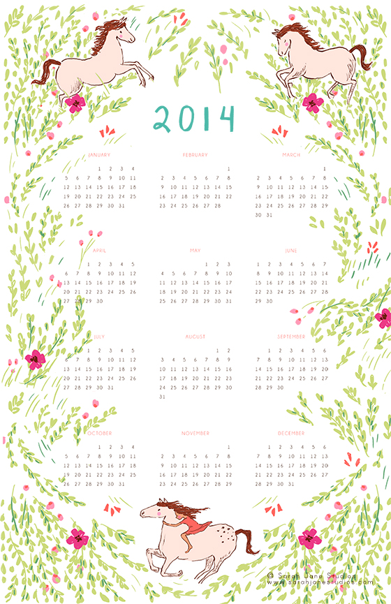 2104 calendar template - 2014 calendar sarah jane studios