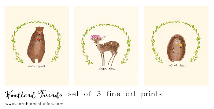 woodland friends art print set