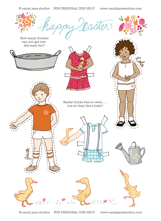 Happy Easter Paper dolls blog