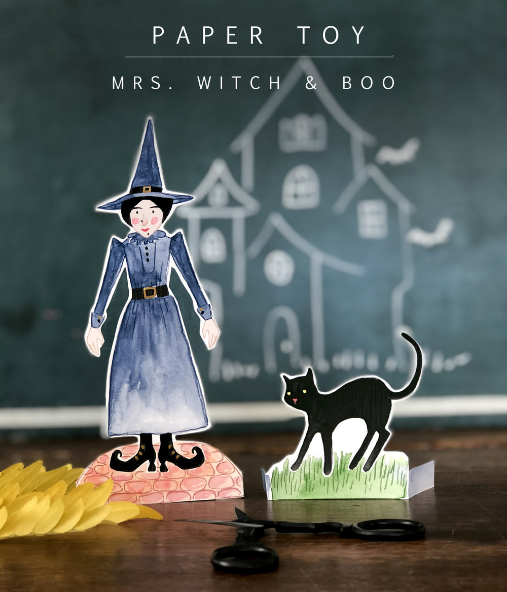 mrs witch and boo paper toy