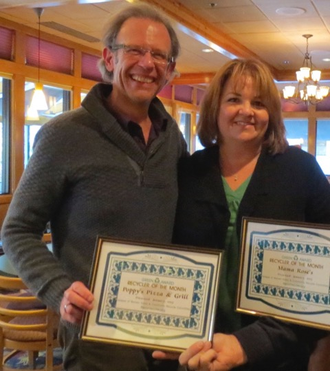 "Rob & Pieper, owners of Poppy's Pizza & Grill and Mama Rose's restaurants received a ""Recycler of the Month"" recognition for providing compostable beverage and take-out containers.  The LWV&CRC regularly recognizes individuals, businesses, and public institutions for demonstrating commitment to the principles of Reduce, Reuse, and Recycle."