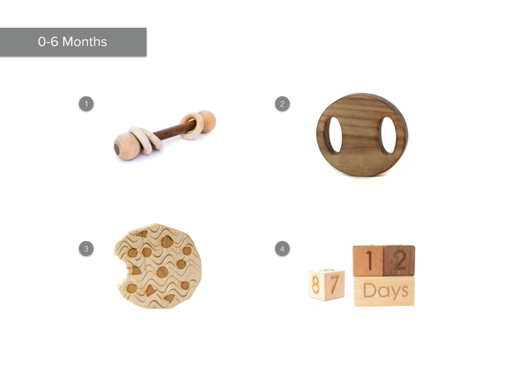 1.  Baby Rattle with Rings  2.  Wooden Rattle  3.  Cookie Teether  4.  Photo Prop Age Blocks