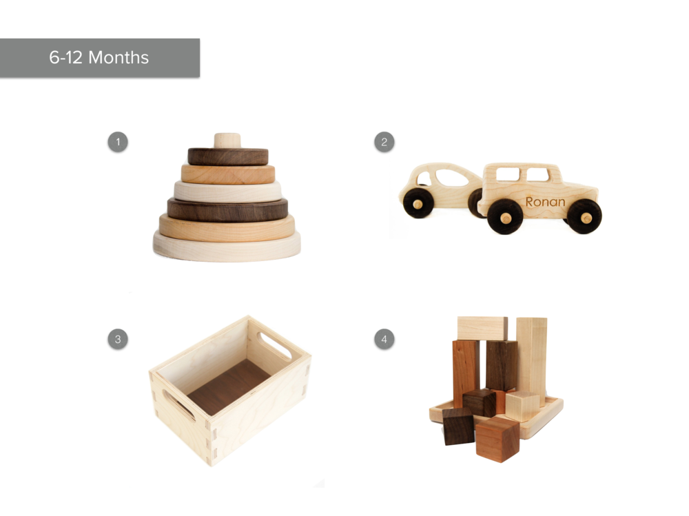 1.  Circle Sapling Stacker  2.  Toy Car and Truck  3.  Wooden Toy Crate  4.  Wood Block Puzzle Toy