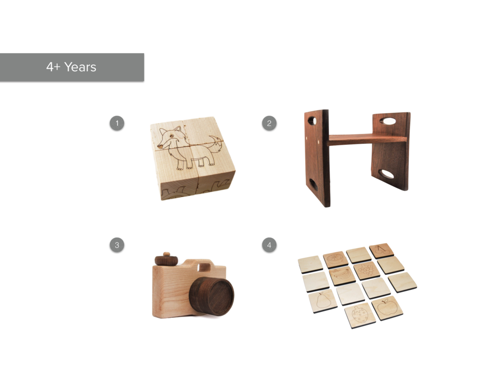 1.  Animal Block Puzzle  2.  Step Stool  3.  Toy Camera  4.  Matching Game