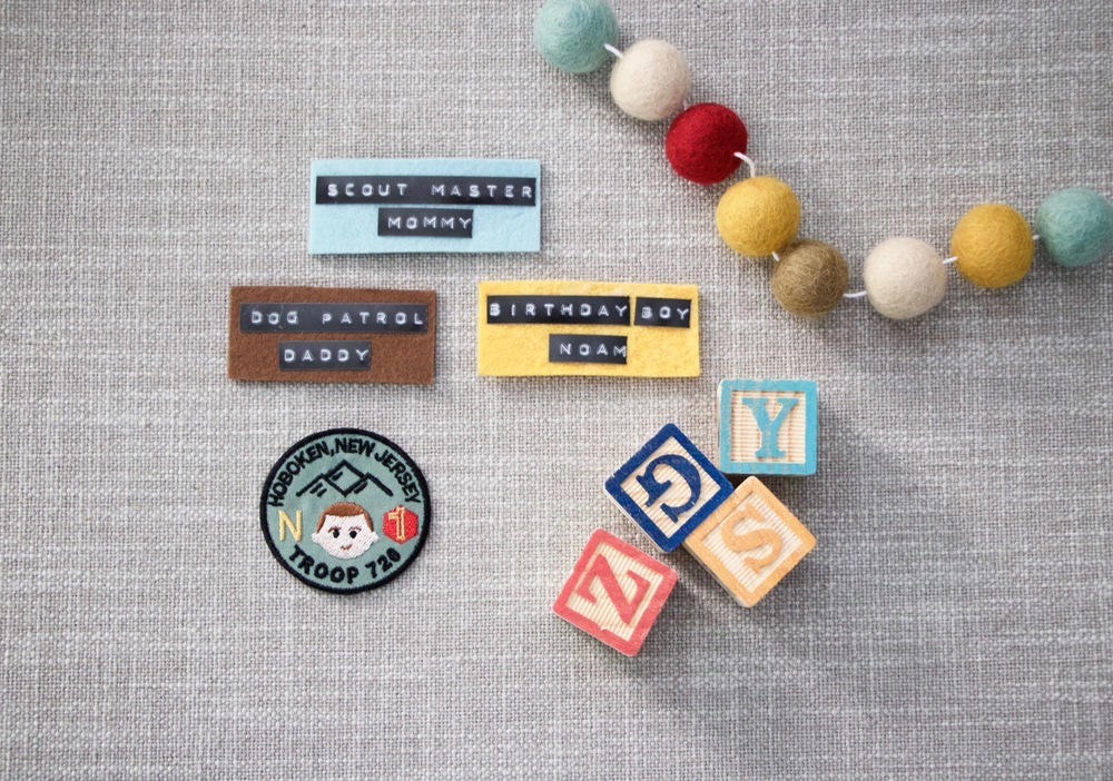 Badge and name tags: custom, Blocks: Target, Felt Garland:  Sheep Farm Felt