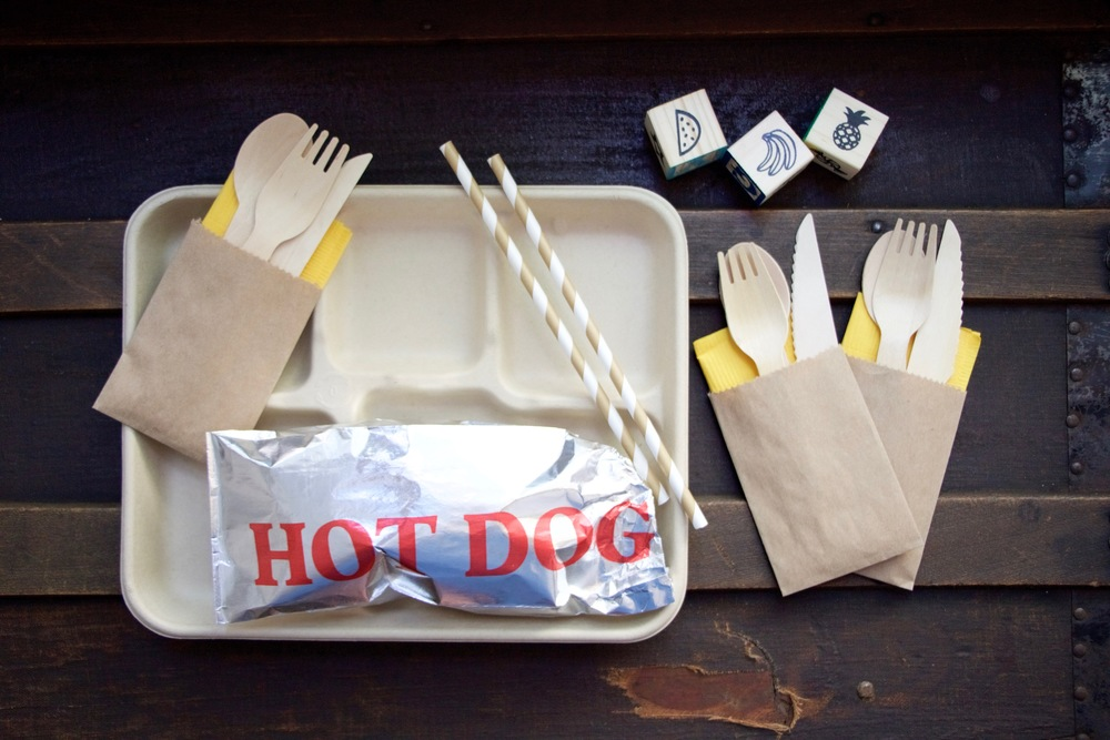 Lunch trays and hot dog foil bags:  Outside the Box Papers , Wooden utensils and kraft bags:  Piper Grace Supply Co.