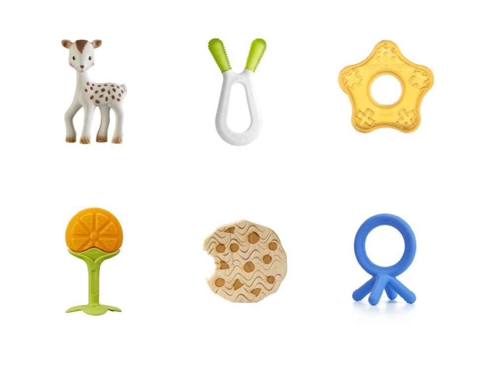Top Row: Fan Fan the Fawn ,  Zoli Bunny ,  Natursutten ; Bottom row:  Innobaby Teethin' Smart Citrus , Little Sapling Toys ,  Como Tomo